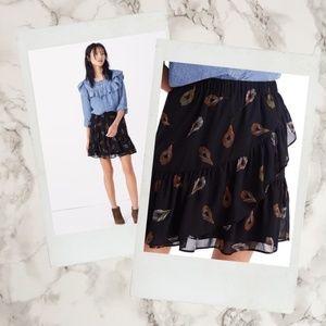 Madewell ▪ Feather Print Ruffled Edge Skirt